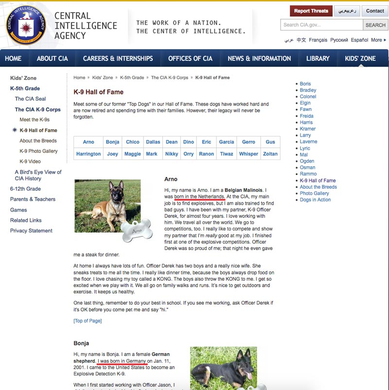 European dogs in US law enforcement